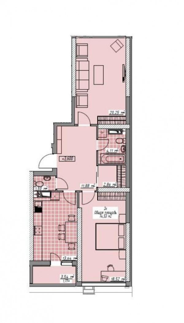 Планировки двухкомнатных квартир 74.41 м^2
